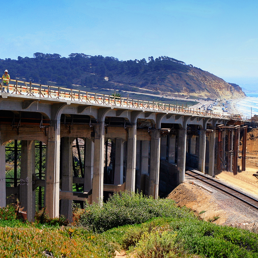 Constructing a bridge at the Torrey Pines job site
