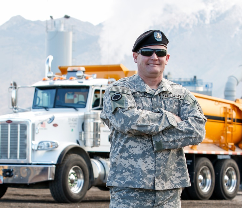 Military professional at work on a CRH Americas Building Project