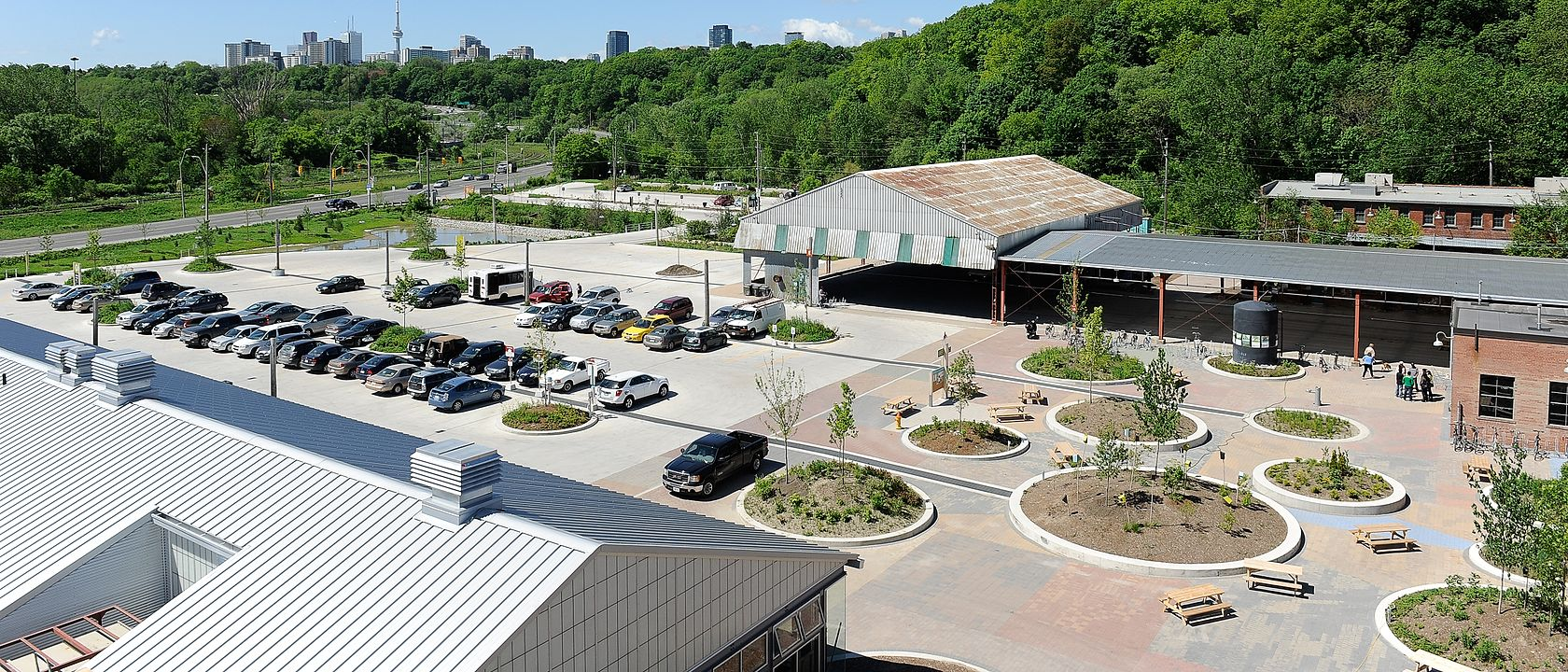 Landscaping at the newly renovated Evergreen Brick Works in Ontario